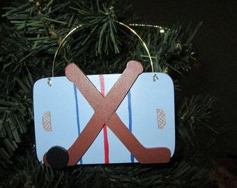 wooden hockey  ornament