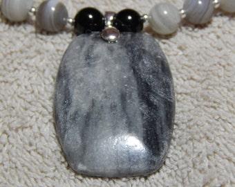 Black & Grey Marble Gemstone Necklace