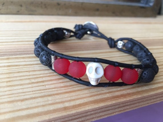 Black lava and red beads with a skull accent bead as well as carved metal accent beads, single wrap bracelet, men's, gift, Halloween