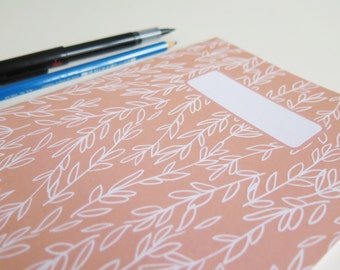 Coral Sprigs Patterned A5 Notebook - Recycled Plain Paper - Line Drawing - Sketchbook/Ideas Book - Back to School/College - Stocking Filler
