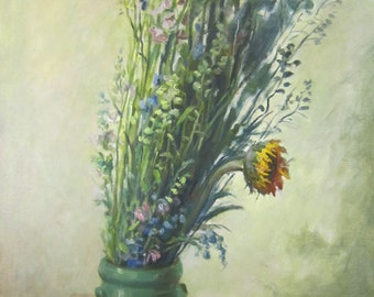 Original oil painting oil on canvas - Free shipping - Sunflower still life impressionism