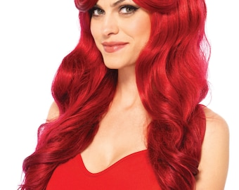 Long Wavy Red Wig, Wine Red Wig, Ariel Wig