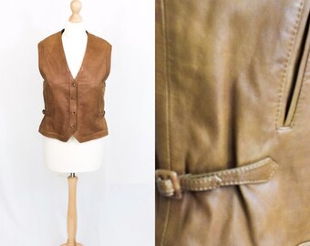 CLEARANCE : Vintage brown real leather waistcoat/gilet/jacket/coat