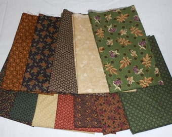 Thimbleberry/Thimbleberries Fat Quarter Bundle 12pc. Circle of Love fabrics/green/red/purple/cream/rust/floral (#043)