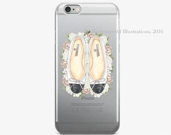 "Phone Case   ""Chanel in bloom"" (White/Black) // Fashion Illustration // Transparent Iphone case"