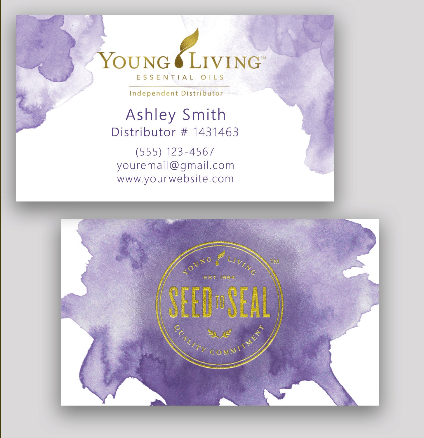 young living business card essential oil watercolor gold