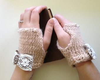 Pink steampunk knit driving gloves
