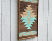"""Reclaimed Wood Wall Art, Kilim Design, Painted Diamond, Wall Decor, Geometric, Mosaic Art, Natural and Painted 13"""" by 24"""""""