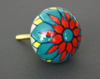 Round Multicolored Ceramic Cabinet Knob