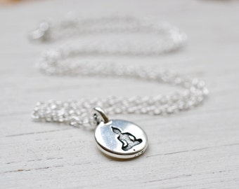 Silver Buddha Necklace, Meditation Necklace, Buddha Charm Buddhism Yoga Necklace, Spiritual Jewelry, Sterling Silver Chain, Be Here Now