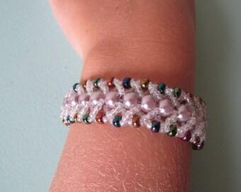 Rainbow Sparkle Herringbone Bracelet