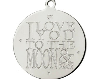 316 Pinkiezz steel jewelry interchangeable engraved pendant with qoute coin to the moon to combine with chain and charms and dangles