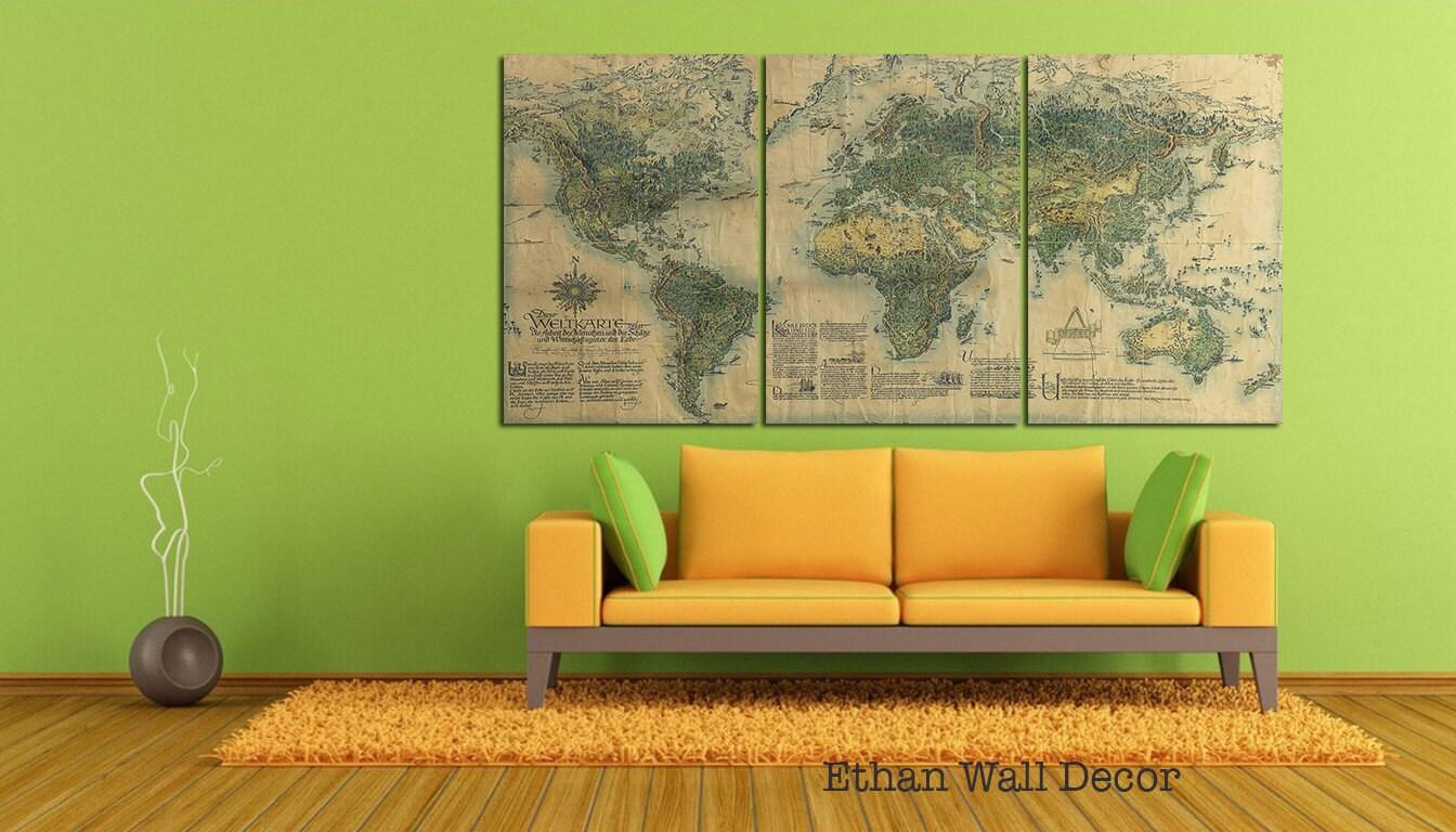 Old World Map Canvas 3 Panels Wall Décor World Map Print World
