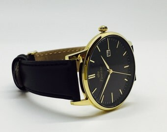 Gold Black Label Watch with Black Leather Strap