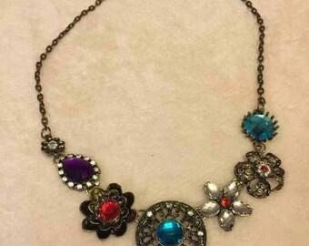 Flower Choker Chain Bib Necklace
