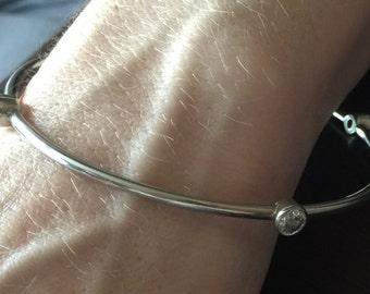 Silver crystal bangle bracelet