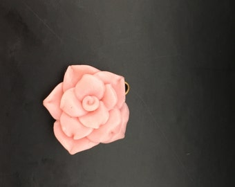 Fimo rose pendant pink