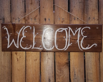 Porch sign-Welcome sign- Wood Sign-Custom made sign- Homemade sign-Entryway - painted sign-reclaimed wooden sign- gift- housewarming gift