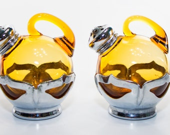 Farber Bros. Amber Glass Salt and Pepper Shaker (1920's)