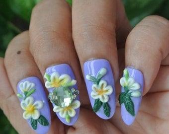 Purple Jasmine Flower Fake nails, Purple Press on Nails, Jasmine Design Glue on Nails
