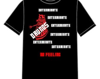 Black t-shirt with short sleeves: Tv series-Doctor Who-Tardis-Dalek DW-Nerd-Geek
