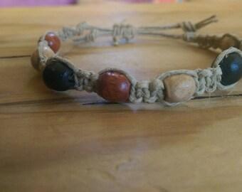 Handmade adjustable beaded hemp bracelet