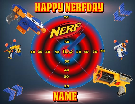 Nerf Inspired Edible Images Cake Topper By Partytime365 On