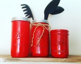 Mason Jar Decor, Mason Jar Kitchen Set, Three Piece Kitchen Set, Jar Kitchen Set, Painted Mason Jars, Rustic Decor, Country Decor