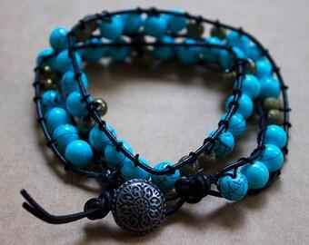 Teal Blue Wrap Bracelet