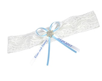 Bridal garter vintage white lace with rhinestone - personalisable