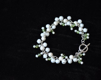 Peridot, Sterling Silver and Fresh Water Pearls
