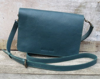 BINA Clutch (with detachable strap) in Teal Leather