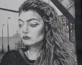 Lorde 16x20 original colored pencil with black frame