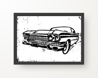 Cadillac Black & White Ink illustration - Digital Print Poster - A4, A3