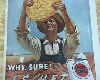 "Lucky Strike Cigarette Vintage Ad 1945- World War II ""Defend the Constitution"" Stamp"