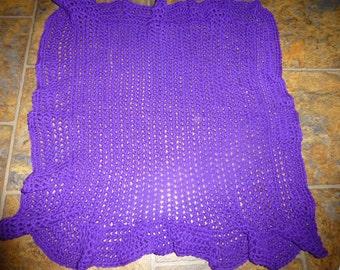 "Crocheted Doll/Baby Blanket Afghan, Purple 100% Acrylic 30"" x 30"""