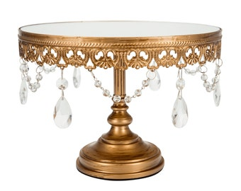 """10"""" Mirror top cake stand Anastasia collection in gold"""