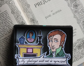 Portrait of Mr Darcy from Pride and Prejudice / Original illustration and decorative object using a diorama or shadowbox technique