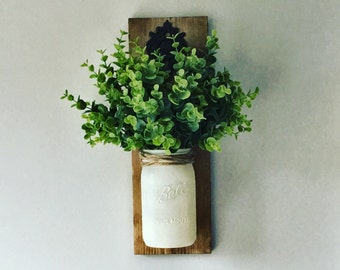 Hanging Mason Jar ( Greenery Included), Mason jar Sconce, Rustic Wall Decor