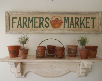 FARMERS MARKET SIGN -  vintage style signs ,hand made signs, hand painted signs, distressed signs, farmhouse signs,kitchen sign wooden signs
