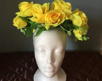 Yellow rose festival headdress