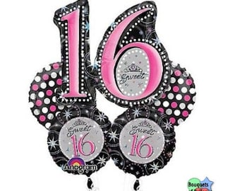 Sweet 16 Holographic  – Bouquet Of Mylar Balloons 27155
