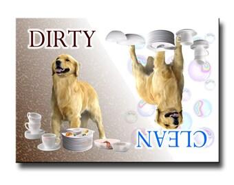 Golden Retriever Clean Dirty Dishwasher Magnet
