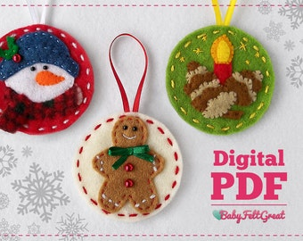 Digital PDF Pattern DIY Christmas felt ornaments, Red Set 2, Gingerbread man, Frosty, candle with pines, Instant download