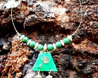 Green Tiered Pendant beaded necklace,Afrocentric Necklace,Beaded Necklace
