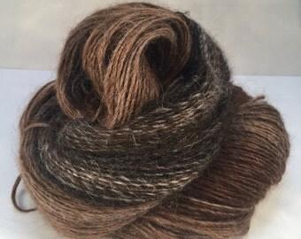 Handspun suri alpaca blacks/browns single ply