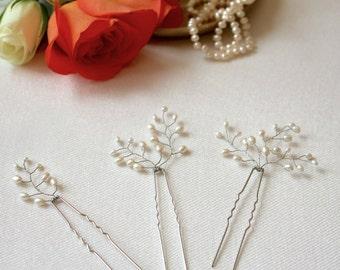 Pearl hair pins, bridal hair pins, bridal bobby pin, freshwater pearl hair pins, bridesmaid hairpin, real pearl hair pins, wedding hair pins