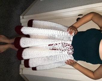 Maroon and White Circle Skirt
