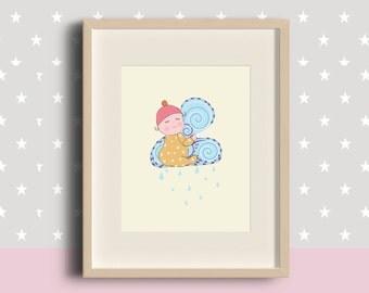 Rain Baby Digital Print Poster