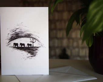 Elephants // A5 Greetings Card // Black and White Illustration // Black and White Doodle // Elephant Doodle